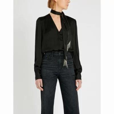 ペイジ ブラウス・シャツ selene embellished neck-tie crepe shirt Black