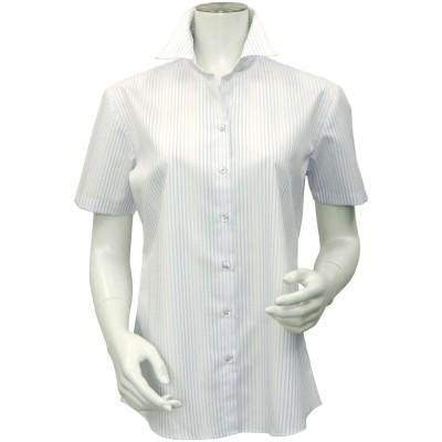 トーキョーシャツ TOKYO SHIRTS 形態安定ノーアイロン スキッパー衿 半袖ビジネスワイシャツ (グレー)