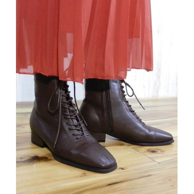 minia / スクエアトゥレースアップショートブーツ ◆ WOMEN シューズ > ブーツ