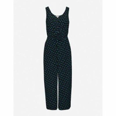 ホイッスルズ WHISTLES レディース オールインワン ジャンプスーツ ワンピース・ドレス Quinn heart-print woven jumpsuit BLACK