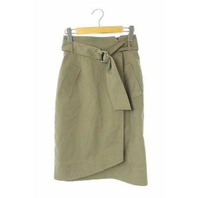 【中古】ジャスグリッティー JUSGLITTY 18SS ベルト付ステッチタイトスカート ひざ丈 0 緑 カーキ /KN ■OS