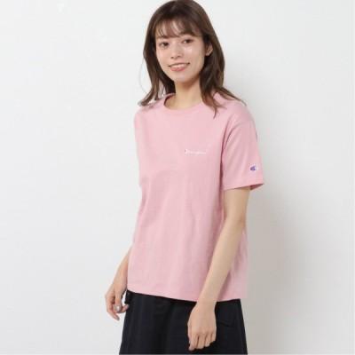 レディース クルーネック半袖Tシャツ オフピンク M L