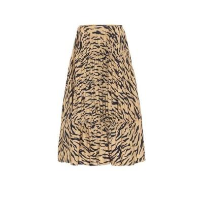 レジーナ ピヨ Rejina Pyo レディース ひざ丈スカート スカート Eve tiger-print cotton midi skirt Tiger Beige