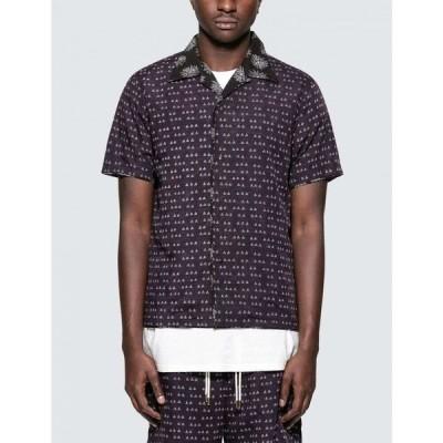 サスクワッチファブリックス Sasquatchfabrix. メンズ シャツ トップス Sensou Open Collar H/S Shirt Dark Purple テ・Black