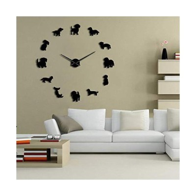 The Geeky Days DIY Dachshund Wall Art Wiener-Dog Puppy Dog Pet Frameless Giant Wall Clock with Mirror Effect Sausage Dog Large Clock Wall Wa