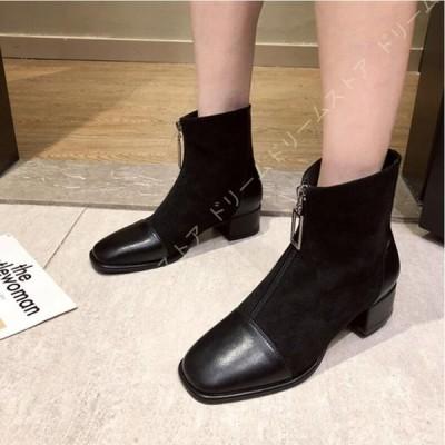 ブーティー スクエアトゥ レディース スエード 美脚ブーツ ショートブーツ 大きいサイズ フロントジップ チャンキーヒール 4センチヒール 歩きやすい アンクル