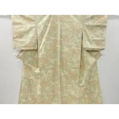 宗sou 草花模様織り出し手織り真綿小千谷紬単衣着物【リサイクル】【着】