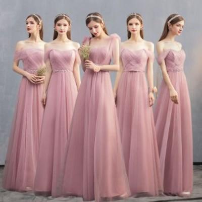 ブライズメイド パーティー ドレス ワンピース ロング丈 リボン 光沢 シフォン 透け感 結婚式 韓国 mme6047