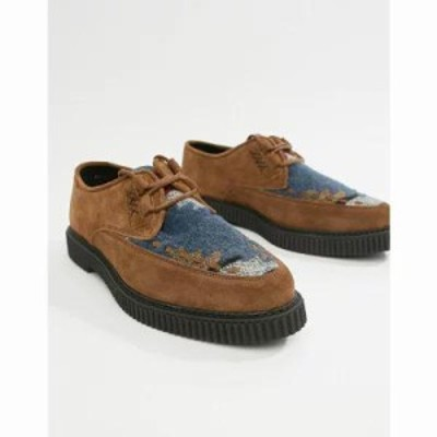 エイソス その他シューズ lace up shoes in tan suede with aztec print and creeper sole Tan