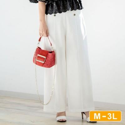 Ranan 【M~3L】ボタン使いマリンワイドパンツ ホワイト LL レディース