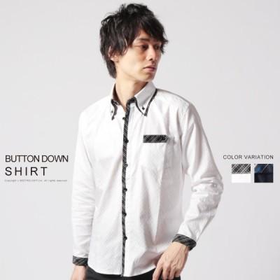 シャツ メンズ シャドー チェック フロント 2枚襟 ボタンダウン シャツ カッターシャツ 綿100 コットン100 長袖