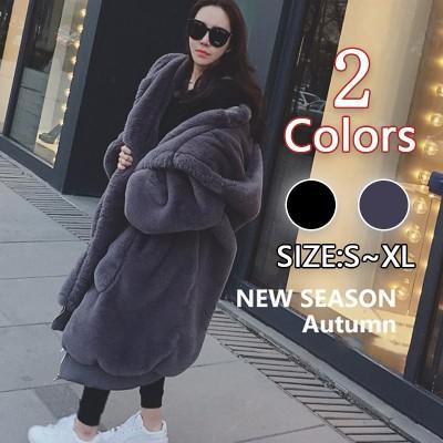 最高の暖かさ ボリュームフェイクファーロング丈コート 韓国ファッション オーバーサイズ・マキシ丈で全身ふんわり・すっぽり包み込む!フード付き・ゆったり快適!肌触り抜群!着ても触っても気持い!防寒