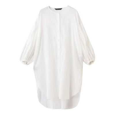 mizuiro ind ミズイロインド ノーカラーボリュームスリーブシャツ レディース オフホワイト F