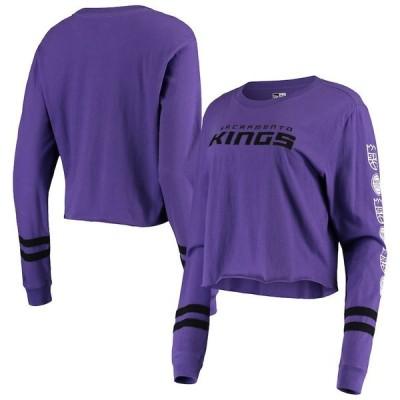 ニューエラ レディース Tシャツ トップス Sacramento Kings New Era Women's Cropped Long Sleeve T-Shirt