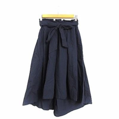 【中古】オリーブデオリーブ スカート ギャザー フィッシュテール ミモレ ロング リボン F 紺 ネイビー /AAM21