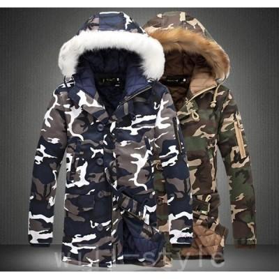 中綿ジャケットメンズ迷彩中綿コートミリタリージャケット中綿入りフード付きカップルブルゾンジャンパー秋冬紳士服