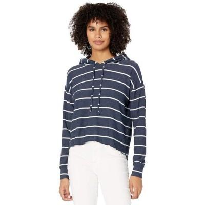 チェイサー レディース パーカー・スウェット アウター Beach Stripes Cozy Knit High-Low Cropped Hoodie