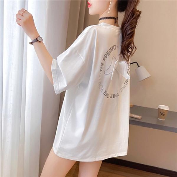 中大尺碼T恤寬鬆上衣K1512刺繡寬松中長款短袖T恤女夏季INS上衣NE416韓衣裳