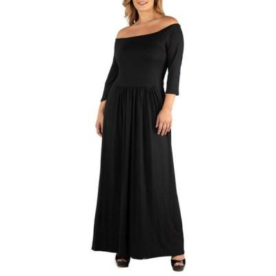24セブンコンフォート レディース ワンピース トップス Plus Size Off the Shoulder Pleated Waist Maxi Dress