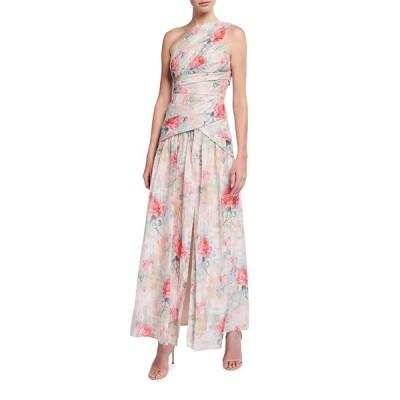 アイダンマットックス レディース ワンピース トップス One-Shoulder Rose Jacquard Front Slit Gown