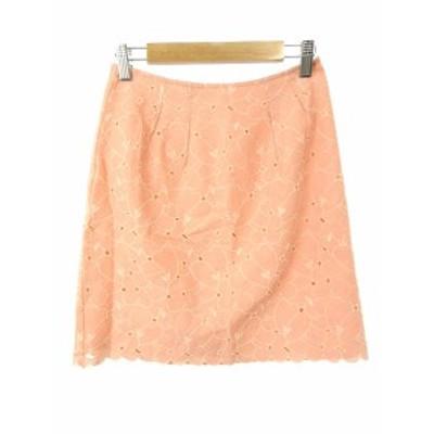 【中古】プロポーション ボディドレッシング PROPORTION BODY DRESSING スカート 台形 ひざ丈 花柄 1 オレンジ レディース