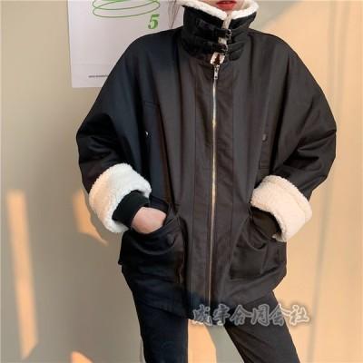 レディース 秋 冬 中綿ジャケット コート 厚手 ゆったり 体型カバー カジュアル  防寒 防風 暖かい ジャケット 大きいサイズ 大人/学生 2色