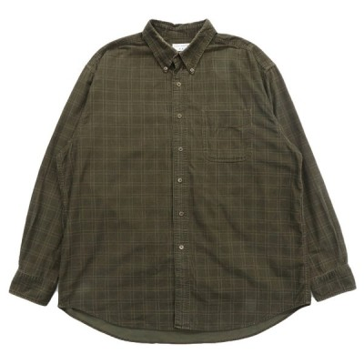 コーデュロイ ボタンダウンシャツ チェック 長袖 オリーブグリーン サイズ表記:L