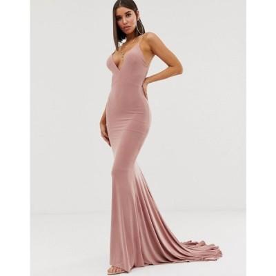クラブエル ロンドン Club L London レディース ワンピース ワンピース・ドレス high strappy back fishtail maxi dress in pink Pink