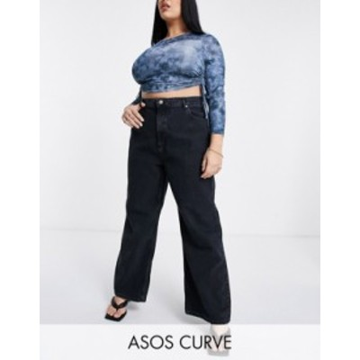 エイソス レディース デニムパンツ ボトムス ASOS DESIGN Curve High rise 'relaxed' dad jeans in washed black Washed black