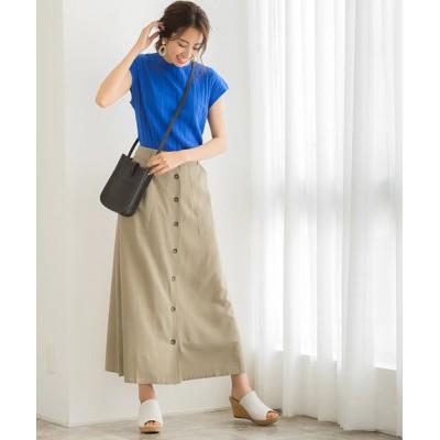 スカート フロントボタンリネンロングスカート