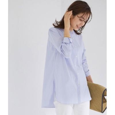 ロペ/【21SS】ハイパワーブロードボサムチュニックノーカラーシャツ/ブルー系/38
