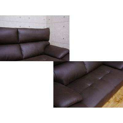 EO057_【開梱設置 完成品】3Pソファ ロペス ブラウン レザー調ファブリック 布地 3人掛け 三人掛け 家具