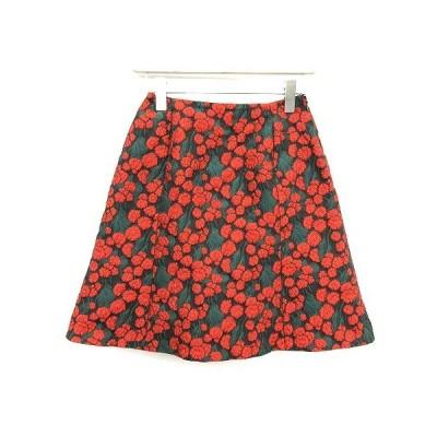 【中古】イエナ IENA 18AW スカート フレア ミニ CIBATTI ジャガード 花柄 フローラル 38 M 黒 緑 赤 /KH レディース 【ベクトル 古着】