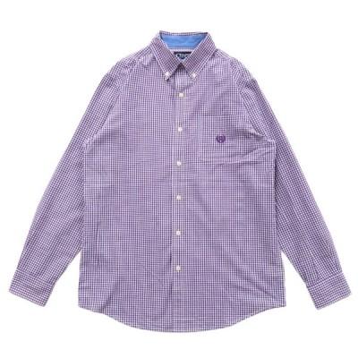 CHAPS チャップス ボタンダウンシャツ ギンガムチェック 長袖 パープル サイズ表記:S