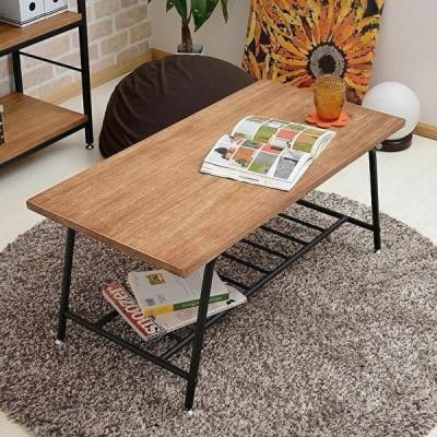 センターテーブル アイアン 天然木 収納付 アンティーク調 ローテーブル 桐 リビングテーブル パイプ テーブル シンプル ブラウン レトロ調 おしゃれ