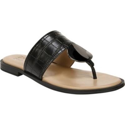 ナチュライザー レディース サンダル シューズ Frankie Thong Sandal Black Croco Print Smooth Leather