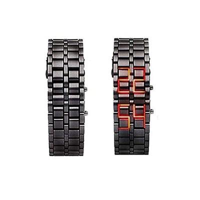 〈新品〉Obic-Shop アイアン フェイスレス レッド バイナリー LED 腕時計 メンズ ブラック