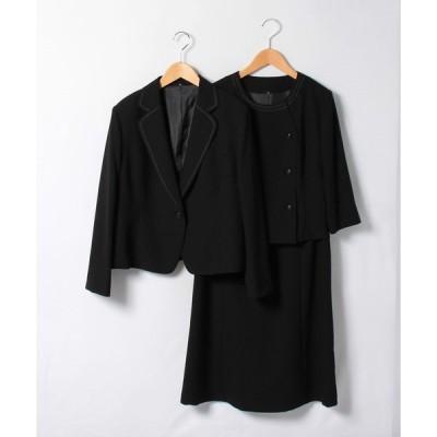【ブラックギャラリー】【大きめサイズ・オールシーズン・ブラックフォーマル・喪服・礼服・葬式・卒業式】テープ使いのゆったりテーラージャケットセットスーツ