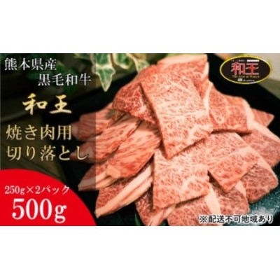 熊本県産 黒毛和牛 和王 焼肉 用 切り落とし 500g【配送不可:離島】