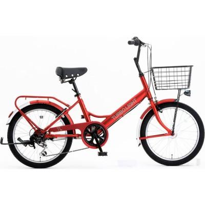 ミニベロ シオノ ターボライト 20 外装6段 オートライト (フラットレッド) 2021 SHIONO TURBO LIGHT 206 塩野自転車 小径自転車