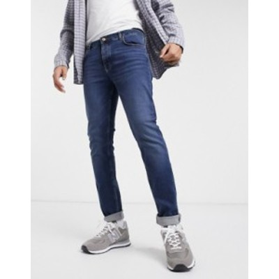 エイソス メンズ デニムパンツ ボトムス ASOS DESIGN organic skinny jeans in dark wash blue Dark wash blue