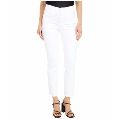 ペイジ レディース デニムパンツ ボトムス Cindy Crop w/ Exposed Button Fly + Undone Hem in Cool White Distressed Cool White Distre