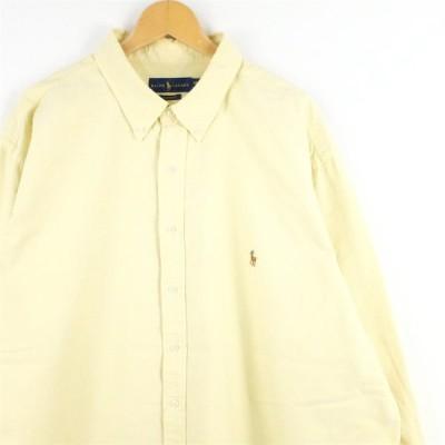 古着 大きいサイズ ラルフローレン 長袖ボタンダウンシャツ オックスフォードシャツ メンズUS-3XLサイズ 無地 イエロー系 tn-0468n