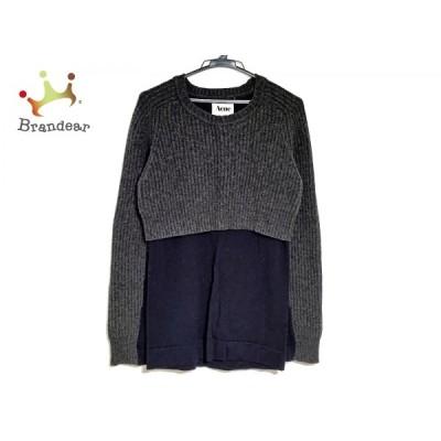アクネ Acne 長袖セーター サイズXS レディース 美品 - グレー×ネイビー クルーネック 新着 20201202