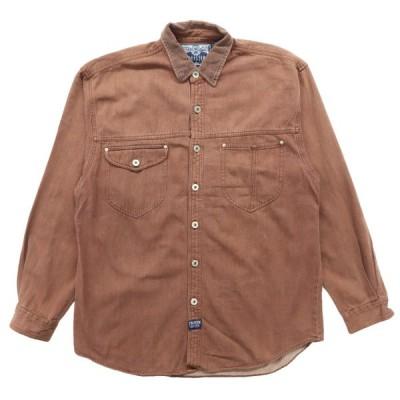 デザインシャツ ガチャポケ コットンツイル 長袖 ブラウン サイズ表記:XL