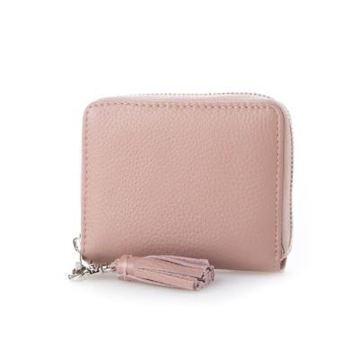 ビュレ Beau're ラウンドジップ 二つ折り財布 (ピンク)