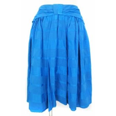 【中古】ケイタマルヤマ KEITA MARUYAMA スカート フレア ひざ丈 ボーダー 青 ブルー系 1 ■VGP0 レディース