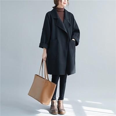 ゆるっとお洒落に! 韓国ファッション ファットMM 大きいサイズ 婦人服 秋 冬 チェスターコート 中長セクション コート カジュアル 百掛け 簡約 快適である 怠惰な風 暖かい