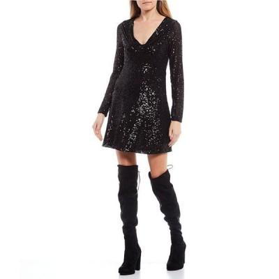 ジービー レディース ワンピース トップス V-Neck Long-Sleeve Sequin Dress