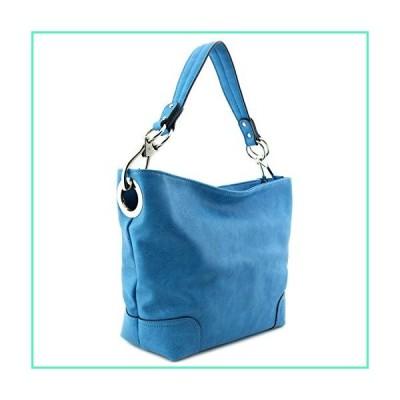 Hobo Shoulder Bag with Big Snap Hook Hardware (Turquoise)並行輸入品